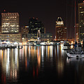 Harbor Nights - Baltimore Skyline by Ronald Reid