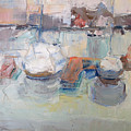 Harbor Sailboats by Suzanne Cerny
