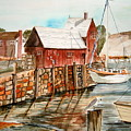 Harbor Scene New England by K Hoover