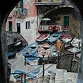 Harbor's Edge In Riomaggiore by Charlotte Blanchard