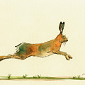 Hare Running Watercolor Painting by Juan  Bosco