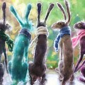 Hares With Scarves by Debra Baldwin