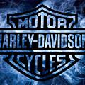 Harley Davidson Logo Blue by Randy Steele