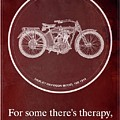 Harley Davidson Model 10b 1914 For Some There's Therapy, For The Rest Of Us There's Motorcycles, Red by Drawspots Illustrations