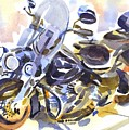 Motorcycle In Watercolor by Kip DeVore