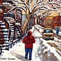 Winter Walk After The Snowfall Best Montreal Street Scenes Paintings Canadian Artist Paysage Quebec by Carole Spandau