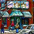 Achetez Les Meilleurs Scenes De Rue Montreal Boulangerie St Viateur Original Montreal Street Scenes  by Carole Spandau
