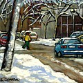 Canadian Artist Winter Scenes Original Paintings Quebec Streets Achetez  Montreal Art Online by Carole Spandau