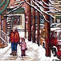Canadian Winter Scene Paintings Original Art Verdun Montreal Achetez Scenes De Rue Quebec C Spandau  by Carole Spandau