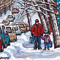 Paysages De Verdun Quebec A Vendre Original Verdun Montreal Winter Staircase Street Scene Paintings  by Carole Spandau