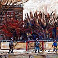Paysages De Quebec Petits Formats A Vendre Hockey Rink Paintings Psc Original Montreal Street Scenes by Carole Spandau