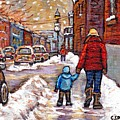 Original Montreal Street Scene Paintings For Sale Winter Walk After The Snowfall Best Canadian Art by Carole Spandau