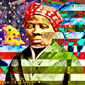 Harriet Tubman Martin Luther King Jr Malcolm X American Flag 20160501 Text by Wingsdomain Art and Photography