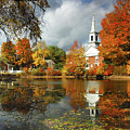 Harrisville New Hampshire - New England Fall Landscape White Steeple by Jon Holiday