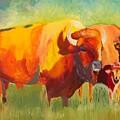 Hartsel Bison Family In Springtime by Kathi Schwan
