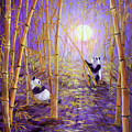 Harvest Moon Pandas  by Laura Iverson