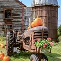 Harvest Time Vintage Farm With Pumpkins by Edward Fielding
