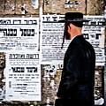 Hasadic Jew Reading Pashkevilin  by Bob Lynn