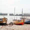 Hastings England Beached Fishing Boats by Richard Singleton