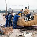 Hastings England Fishermen On Boat by Richard Singleton