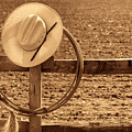 Hat And Lasso On A Fence by American West Legend By Olivier Le Queinec