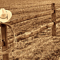Hat And Lasso On Fence by American West Legend By Olivier Le Queinec