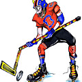Hat Trick Hockey Player by Keith Naquin