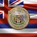 Hawaii Great Seal Over State Flag by Serge Averbukh
