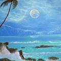 Hawaii Night Seascape by Leland Castro