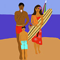 Hawaiian Family Beach Scene by Maggie McFarland