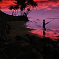 Hawaiian Fishing On Halama Beach At Sunset by Kedoki
