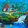 Hawaiian Hut And Waterfalls by Jenny Lee