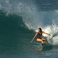 Hawaiian Surfer Girl Bottom Turn by Brad Scott