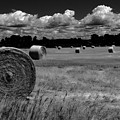 Hay Bales And Clouds by Michelle Calkins