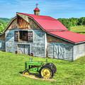 Hayesville Barn And Tractor by Lorraine Baum