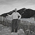 Haymaker With Pitchfork B W by Barbara Griffin