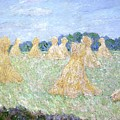 Haystacks The Young Ladies Of Giverny Sun Effect by Claude Monet