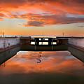 Hdr Sunset Over Harbor And Graffiti by Sandra Rugina
