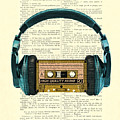 Blue Headphone And Yellow Cassette Collage Print by Madame Memento