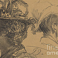 Heads Of A Man And A Woman by Adolph Menzel