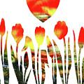 Heart And Flowers Watercolor by Irina Sztukowski