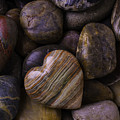 Heart Stone On River Rocks by Garry Gay