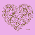 Heart With Pink Flowers And Swirls by Caroline Sachiko Shirota