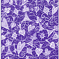 Hearts, Spades, Diamonds And Clubs In Purple by Lise Winne