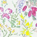 Heather And Gorse Watercolor Illustration Pattern by Mike Jory