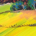 Heavenly Haldon Hills - Colorful Narrow Devon Landscape Painting by Mike Jory