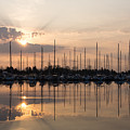 Heavenly Sunrays - Peaches-and-cream Sunrise With Boats by Georgia Mizuleva