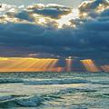 Heavenly Sunrise Panorama At Riviera Beach  by Lynn Bauer