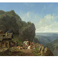 Heinrich Burkel 1802 - 1869 German Wirtshaus Auf Der Alm Mit Alpzug Tavern In The Alps by Adam Asar