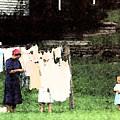 Helpin Momma..amish Wash Day by Danny Craig